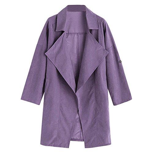 VEMOW Heißer Verkauf Herbst Winter Damen Frauen Lose Langarm Solide Mantel Casual Täglich Im Freien Lose Oberteile Jacke Windjacke Parka Outwear(Violett, EU-48/CN-XL)