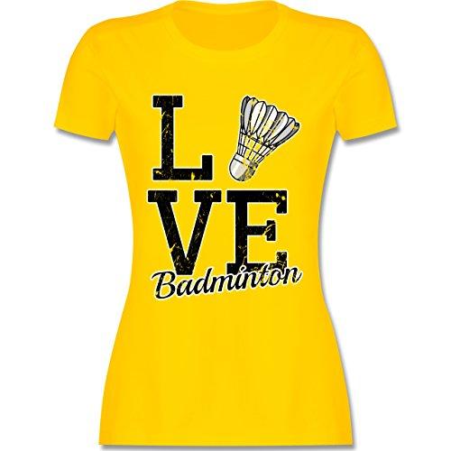 Sonstige Sportarten - Love Badminton - tailliertes Premium T-Shirt mit Rundhalsausschnitt für Damen Gelb