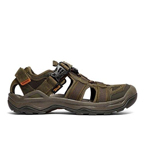 Teva Omnium 2 Leather Sandali Sportivi Uomo, Dark Olive, 40.5 EU