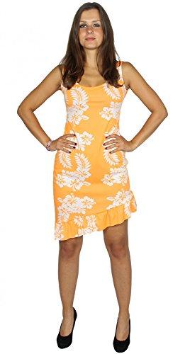Foxxeo 40153 | Sexy Hawaii Kleid orange für Damen Karneval Strand Party Sommer Beach Gr. XS-XL, ()
