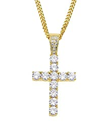 Street Hiphop Gold Plated Filled Shining Crystal American Dollar Long Chain Pendant Necklace for Men&Women oauxec