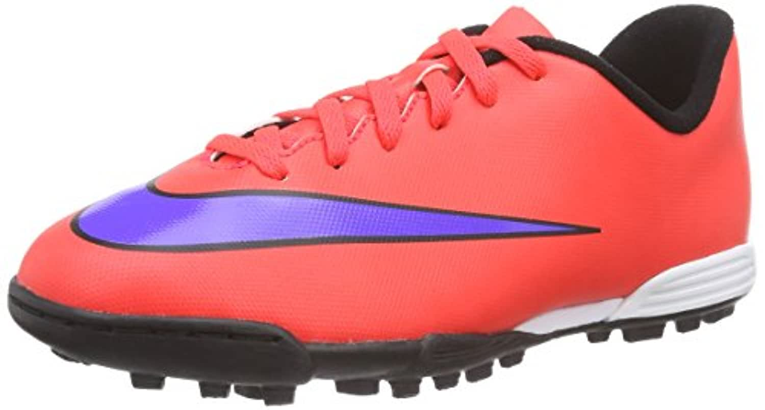 Nike Unisex Kids' Jr. Mercurial Vortex II TF Football Training Shoes, Red - Rot (Bright Crimson/Prsn Violet-Blk), 3 UK