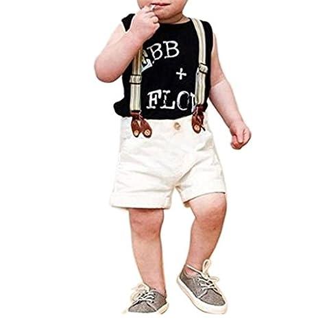 VENMO Baby Junge Gentleman Hemd Tops + Hosenträger Hosen Shorts Kinder Kleidung Outfit (Größe: