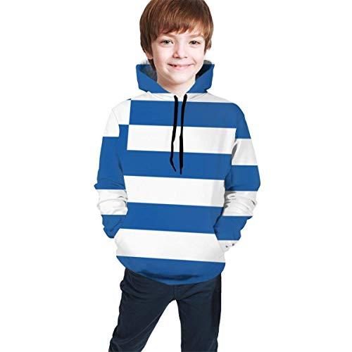 NGZXPMYY Flagge von Griechenland-viel Glück-mit Kapuze Sweatshirt für Jungen-Mädchen-Teenagerjunior, athletische zufällige Sportkleidung