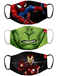 Bon Organik Mighty Avengers (OFFICIAL MERCHANDISE) 2 Ply Printed Cotton Cloth Face Mask Bundle For Kids (Set Of 3) (4-8Y)