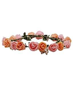 Sanjog Flower Orange Pink Gracious Tiara/Crown Head Wrap For Wedding Party Beach For Women Girls