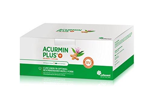 Kurkuma Kapseln hochdosiert von Acurmin PLUS®: Das Mizell-Curcuma (Curcumin) mit Vitamin D3, OHNE Piperin/Bioperin/Pfeffer von Cellavent Healthcare GmbH - 360 Kapseln (D3 Vitamin 3000)