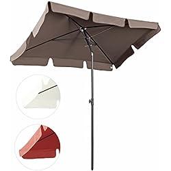 Sekey® Sombrilla 200 x 125cm Parasole para Terraza Jardín Playa Balcón Piscina Patio ,Protector Solar UV50+ , color Marrón , Rectángulo