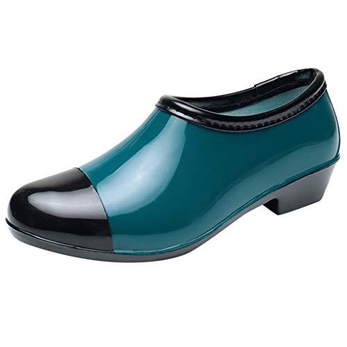 Fenverk Damen Wellibob Gummistiefel Peter PVC Gummistiefel Wasserschuhe Rot, Blau, Beige, Grün Gr. 36-40(Grün,40 EU) Double Strap Ankle Boot