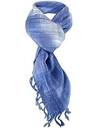 foulard en bleu claire argent gris à carreaux avec franges - taille 90 x ... 90b8cb1e12b