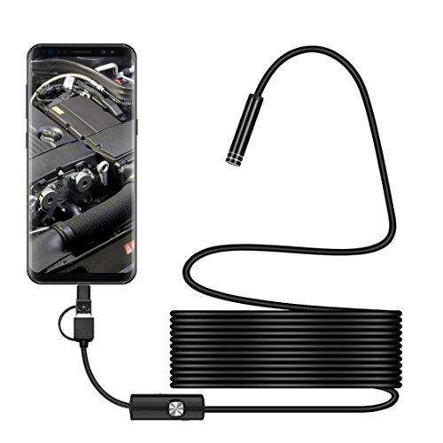 7mm Wireless Endoskop, 3in1USB WiFi Endoskop [HD Schlange Kamera mit 6verstellbarem LED-Licht] Wasserdicht halbstarr Snake Kabel für iPhone/Android Smartphone, weiß, 5M(16.4 FT) (3 In1 Handy)