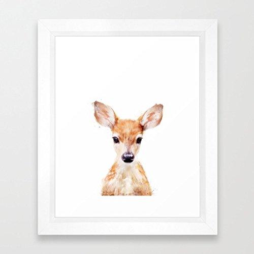 Cute Deer immagini incorniciate Kids Room Decor stampa Artistica con cornice in legno pronta da appendere