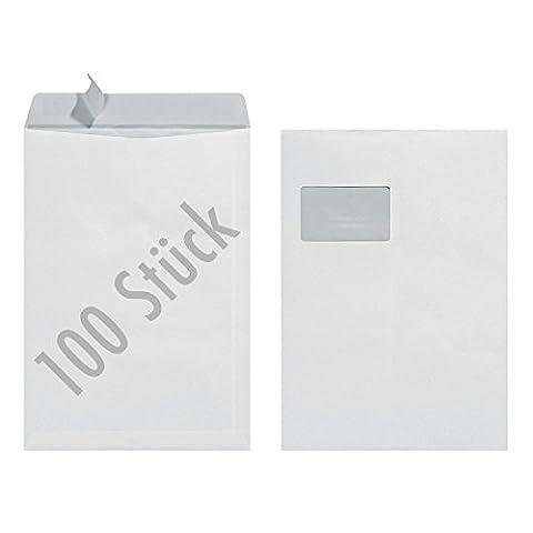 Herlitz Versandtasche C4 90 g Haftklebend mit Fenster, 100 Stück mit Innendruck in Folienpackung, eingeschweißt, weiß (100 Stück)