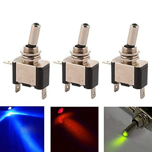 12 V 20A Auto Kippschalter, ON/Off Rot/Blau/Grün LED-Licht Wippschalter für Auto RV Fahrzeuge LKW Boot BI1031 autozubehör Motorradzubehör ()