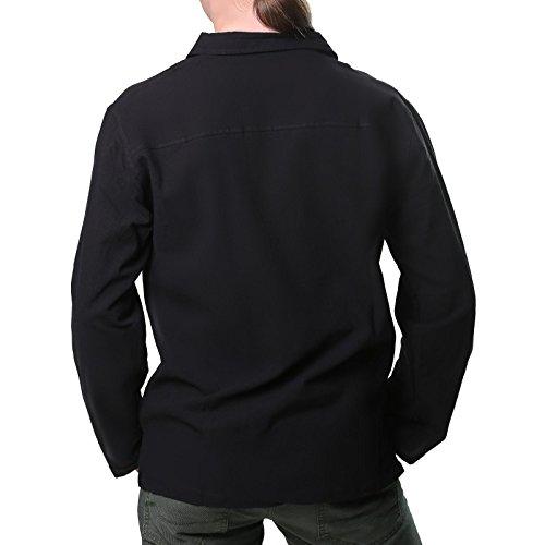 Kunst und Magie Alternatives Baumwollhemd Fischerhemd Kurtha Hemd Mittelalter Schwarz