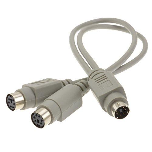 PS/2 Kabelverteiler Y-Adapter 6 Polig mini DIN Männlich Stecker Zum 2 x Weiblich Buchsen Kabel 25 cm -