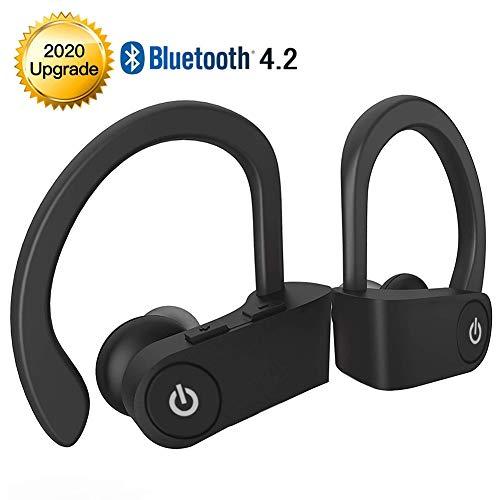 Kabellose Ohrhörer Bluetooth 5.0 Kopfhörer, Sport-In-Ear-TWS-Stereo-Headset mit Mikrofon Extra-HiFi-Bass IPX5 Wasserdicht, Sofort-Pairing 12-Stunden-Akkuladekoffer Ohrhörer mit Rauschunterdrückung