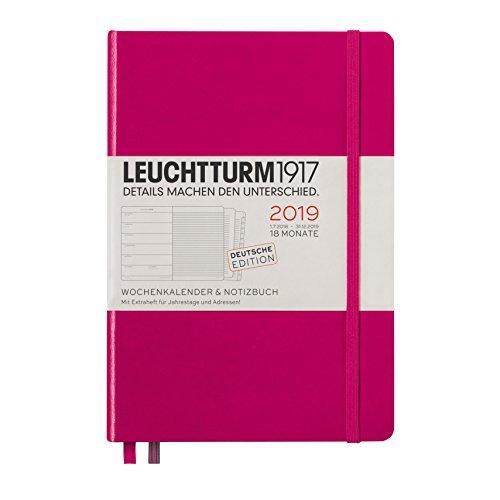 Leuchtturm1917 357749 Wochenkalender und Notizbuch 18 Monate Medium (A5) 2019, Beere, Deutsch