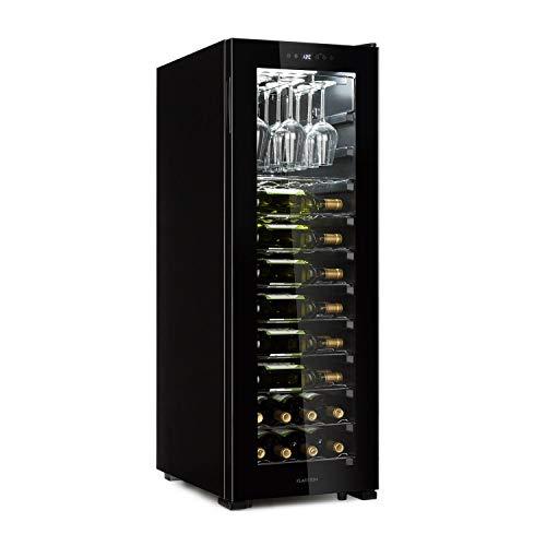 Klarstein bellevin 62 • cantinetta • frigorifero per vino • 173 l • 56 bottiglie • 1 zona raffreddamento 5-20 ° c • classe a • ripiano per 15 bicchieri • porta in vetro • nero