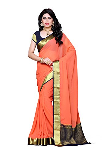 Mimosa Women's Traditional Chiffon Silk Saree Kanjivaram Style With Blouse Color:Peach(3309-2095-PCH-NVY )