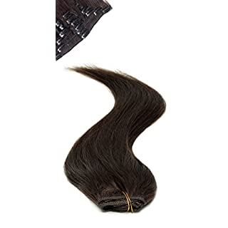 American Pride | Clip In Hair | Human Hair Extensions | Full Head | 18 inch barely black (col 1b)