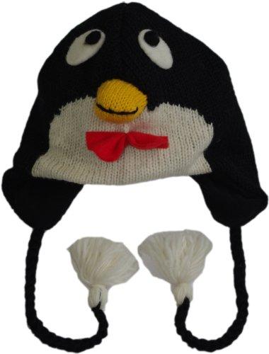 (100% Wolle Nepalesische Hand Strickmütze–Normale Größe Gr. One size, pinguin)