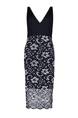 Silber Damen Bella Plunge Metallic Lace Skirt Midi Dress Silber