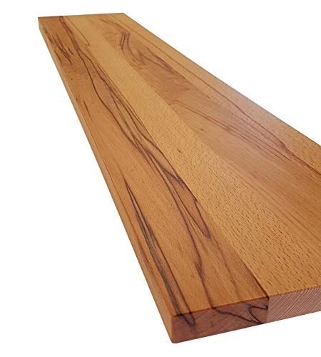 Schweberegal Wandsteckboard Regal Ablage Holz massiv mit verdeckten Trägern - Tiefe:20cm Stärke:25mm - Verschiedene Holzarten - Wandboard Livingboard Regal Wandbord (Kernbuche, 50cm)