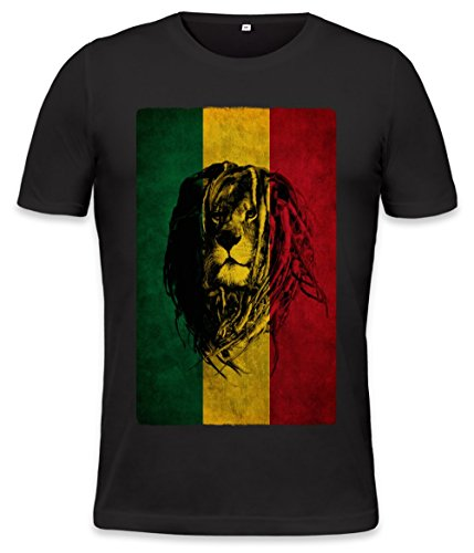 Lion Of Judah Flag Mens T-shirt Small (Jamaica Mens Tee)