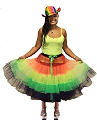 ANGIES FANCY DRESS Neon 30 Inches Long Tutu Skirt Rainbow Perfect for 80s Neon Hen Nights Fun Runs Fancy Dress Party
