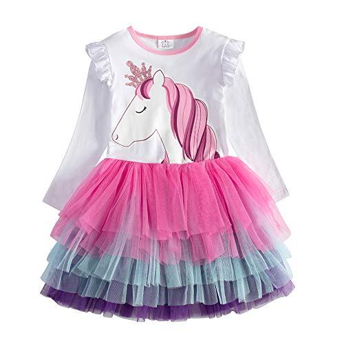 VIKITA Vestito Cotone Stampa Principessa Tulle Tutu Festa di Compleanno Abito Bambina LH4590 4T
