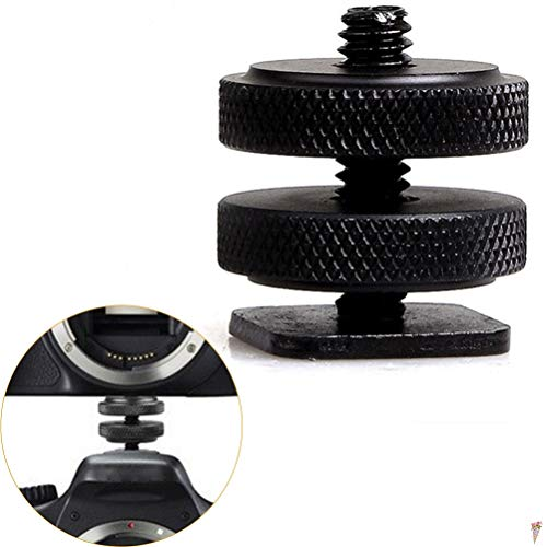 Tripods - 1 4 Quot Dual Nuts Tripod Mount Screw To Flash Camera Shoe Adapter P25 0.3 - Plate Camera Handle Higher Screw Professional Output Cable Security Screen Record Double Bracket