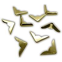 20 Buchecken / Buchbeschläge aus Metall (gold / messing, 22 x 22 x 4,5 mm)