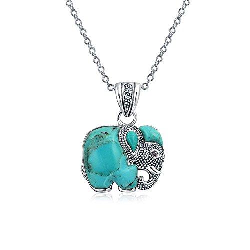 il Tribal Elefant Erweiterte Türkis Anhänger Oxidiertem Sterling Silber Halskette Frauen Mit Kette ()