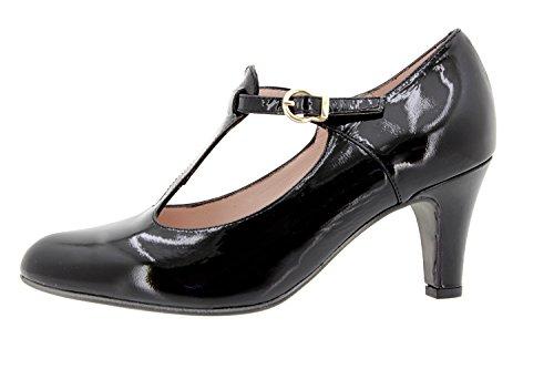 Scarpe donna comfort pelle PieSanto 9207 Mary Jane con tacco comfort larghezza speciale Negro