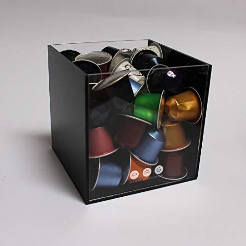 .:plexiartglass:. porta capsule cubo senza coperchio nero in plexiglass made in italy 14 cm