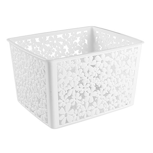 mDesign organizer bagno in plastica – piccolo cosmetic box – ideale cestino portaoggetti bagno per tenere in ordine trucchi, shampoo e cosmetici – colore: bianco MetroDecor 3439MDBST
