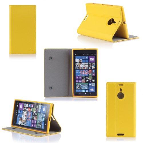 Ultra Slim Tasche Leder Style Nokia Lumia 1520 Hülle Gelb Cover mit Stand - Zubehör Etui smartphone phablet Nokia Lumia 1520 Flip Case Schutzhülle (Handytasche PU Leder, Yellow / Gelb) - Brand XEPTIO accessoires