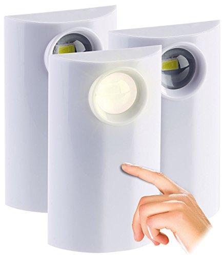 PEARL Batterieleuchten: LED-Lampe mit Batterie-Betrieb, Touch, dimmbar 1 bis 50 lm, 3er-Set (Lampe batteriebetrieben)