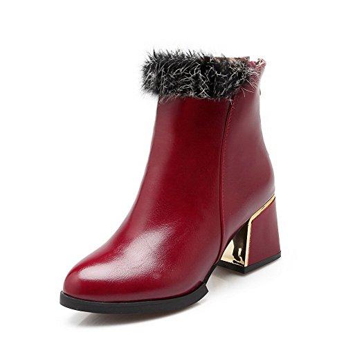 Damen Rein PU Niedriger Absatz Reißverschluss Rund Zehe Stiefel, Rot, 39 VogueZone009