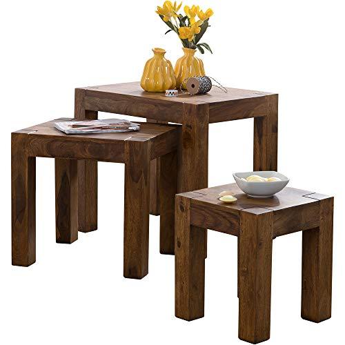 FineBuy 3er Set Satztisch Massivholz Sheesham Wohnzimmer-Tisch Landhaus-Stil Beistelltisch dunkel-braun Naturholz Couchtisch Natur-Produkt Wohnzimmermöbel Unikat Massivholzmöbel Echtholz Anstelltisch