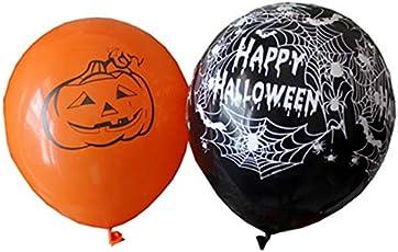 TiooDre 10 Stück Luftballons Santo Muster Kürbis 5 Stück Muster Dekoration der Spinne Party Halloween Orange Schwarz + 5 Stück mit Gummiband (10 Stück)