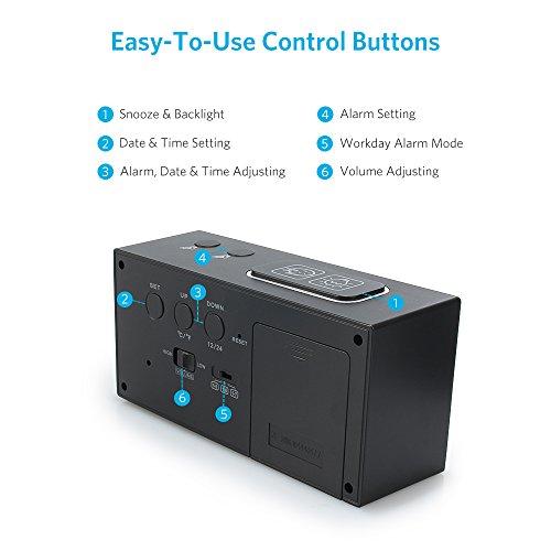 Despertador digital  despertador reloj  alarma digital de gran pantalla LCD con temperatura  fecha  doble alarma  día de la semana  iluminación inteligente y 3 modos de trabajo Negro