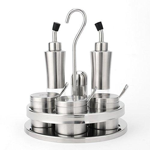 V.JUST Gewürz Jar5pieces/set, Edelstahl Salz Pfefferstreuer, Gewürzflasche Silber