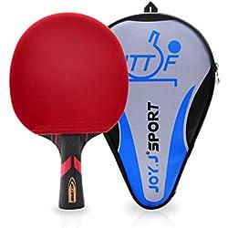Joy.J Sport Raquette de Tennis de Table Professionnelle avec étui, Approuvé par ITTF Pingpong Raquette Paddle avec 9-Ply Bois et 8 Couches Lame de Carbone (DÉBUTANT-INTERMÉDIAIRES)