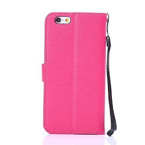 EKINHUI Case Cover Hochwertige Litchi Texture Faux Ledertasche Cover Geldbörse Tasche mit Tragen Lanyard und Kickstand für iPhone 6 & 6s ( Color : Purple ) Rose
