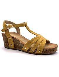 0c2c2a6b2da5df Angkorly - Chaussure Mode Sandale Mule Plateforme Pratique Confortable Femme  lanières clouté liège Talon compensé