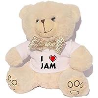 Oso blanco de peluche con Amo Jam en la camiseta (nombre de pila/apellido