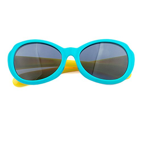 Unbekannt WLHW Sonnenbrille Mädchen Junge | 100% UV400 Max Augenschutz | Alter 3-10 Jahre Kinder (Farbe : Blau)