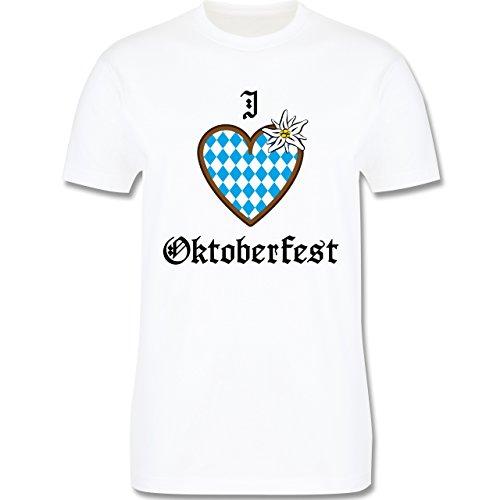 Oktoberfest Herren - Oktoberfest Love Edelweiß - Herren Premium T-Shirt Weiß